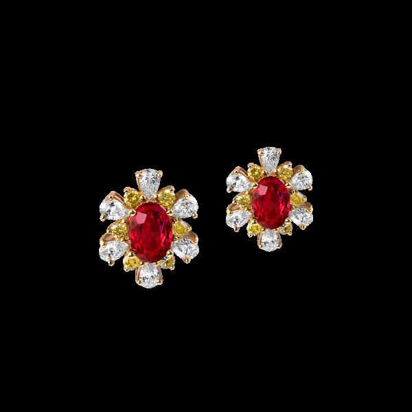 含香吐蕊·红宝石钻石耳钉
