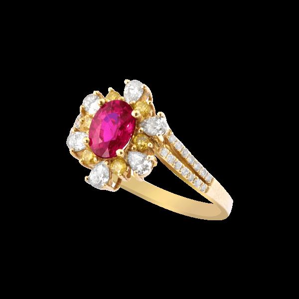 含香吐蕊-·-红宝石镶钻戒指