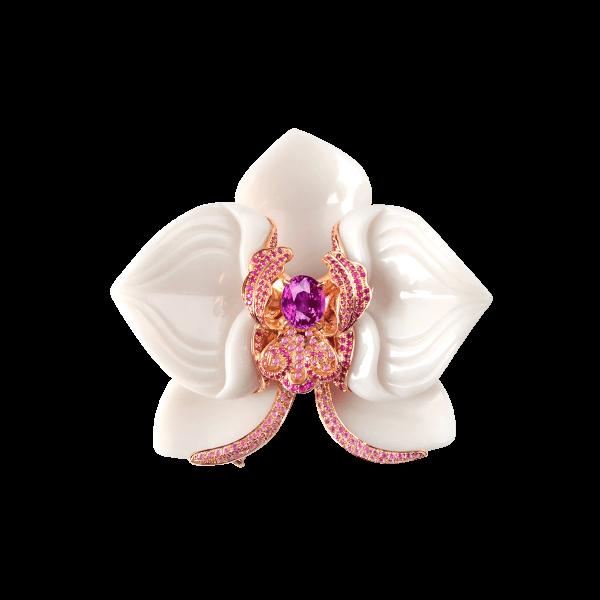 御庭兰花-·-粉蓝宝石玉石胸针