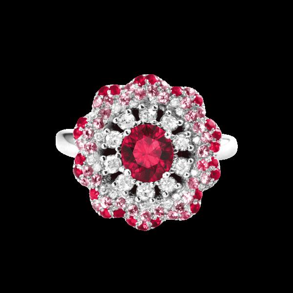 心绪蔷薇-·-红宝石镶钻戒指