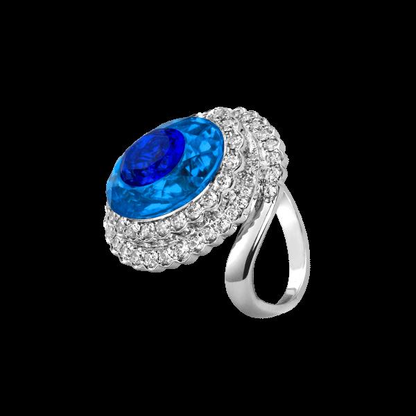 海心-·-蓝宝石围钻戒指