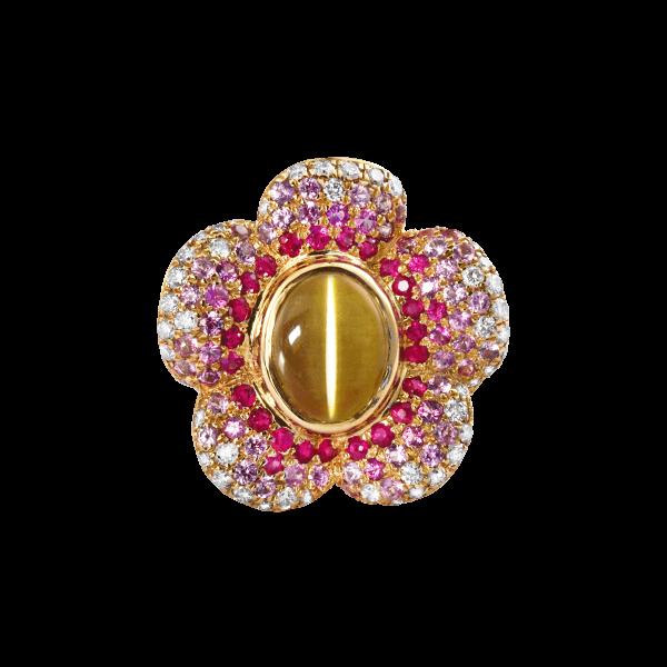 灵犀桃花-·-金绿猫眼戒指