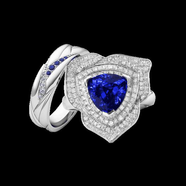 真爱玫瑰-·-蓝宝石婚礼戒指男女套装