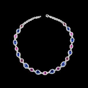 挹彩-·-蓝宝石镶钻项链
