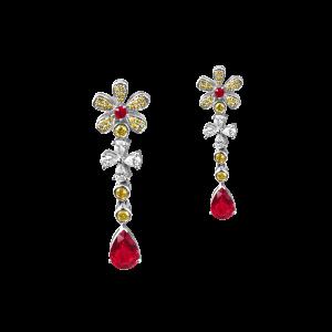 暗夜丁香·红宝石钻石耳坠