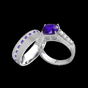 浪漫双城-·-蓝宝石婚礼戒指男女套装