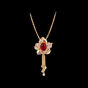 紫荆花开·红宝石流苏吊坠
