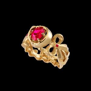 结花寄语-·-红宝石艺雕戒指