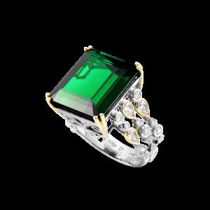 鱼戏浅底-·-绿碧玺镶钻戒指