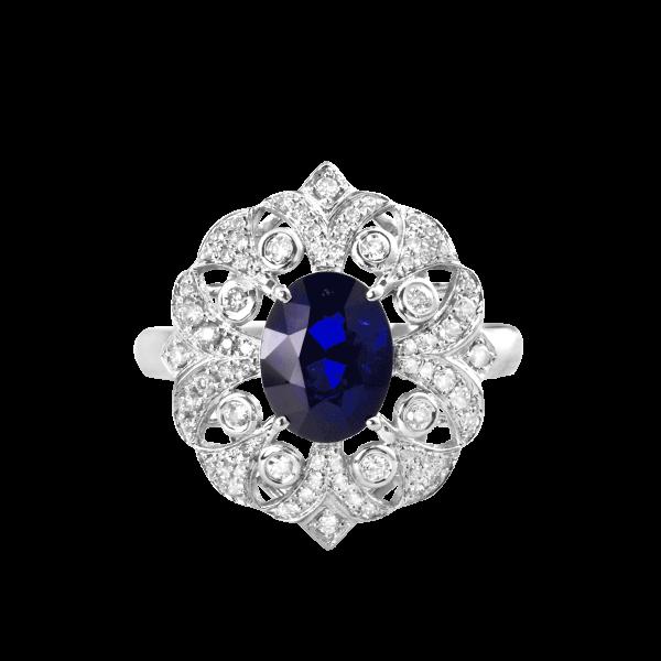卢浮印象-·-蓝宝石镶钻戒指