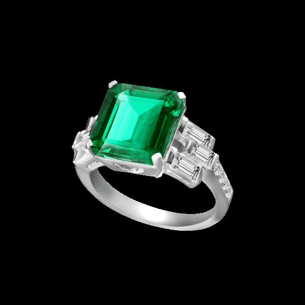 复古祖母绿方钻戒指