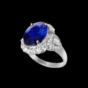 唯美心钻蓝宝石戒指