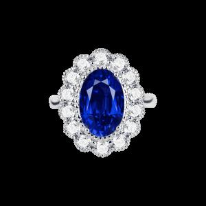 经典团花形蓝宝石钻石戒指