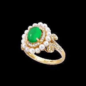 维多利亚-·-祖母绿珍珠戒指