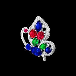 蝴蝶-·-彩色宝石胸针