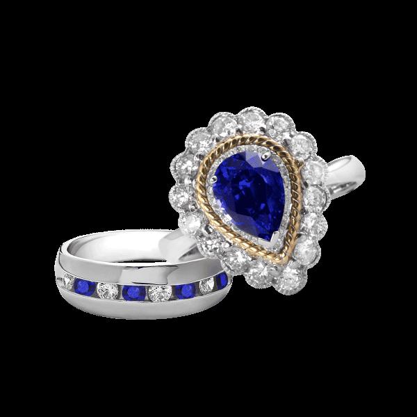 维多利亚-·-蓝宝石婚礼戒指男女套装