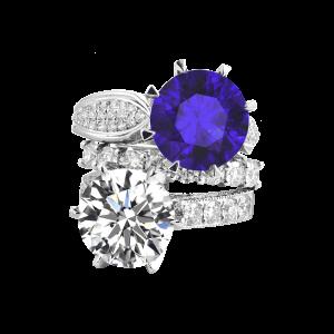 相随-·-钻石坦桑石叠戴戒指套装